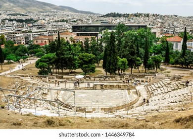 Athens.Greece.May 31, 2019. View of the ruins of the theater Dionysus at the Acropolis in Athens.