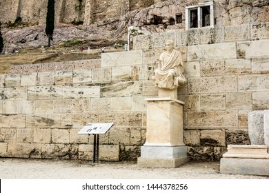 Athens.Greece.May 31, 2019. View of the Statue of Menander Athenian playwright in the new Comedy at the Acropolis in Athens.