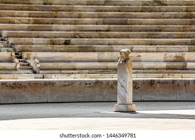 Athens.Greece.May 31, 2019. View of the statues of two-faced Herms at the Panathenaic stadium in Athens.