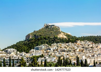 Athens.Greece.May 31, 2019.City skyline and Mount Lycabettus in Athens, Greece.
