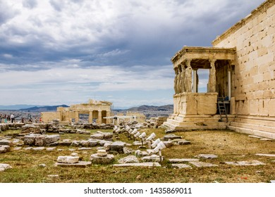 Athens.Greece.May 31, 2019.Erechteion temple on the Acropolis hill in Athens in Greece.