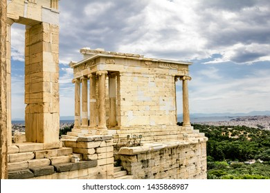 Athens.Greece.May 31, 2019.Niki Apteros Temple on the Acropolis hill in Athens in Greece.