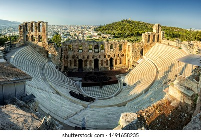 Athens/Greece AUG 4, 2019. View of the Amphitheatre - the Odeon of Herodes Atticus at the Acropolis in Athens.