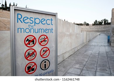Athens,Greece - August 21, 2018: instructions for visitors outside of the Panathenaic Stadium.