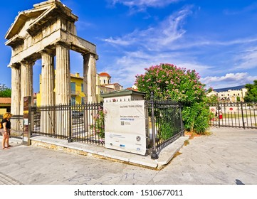 Athens/Greece - July 17 2019: Gate of Athena Archegetis, in the ancient site of Roman Forum in Athens, Greece.