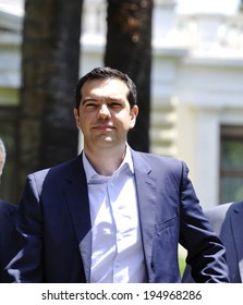 ATHENS-GREECE MAY 26, 2014. Leader of the left-wing Syriza party Alexis Tsipras, Greek winner of European elections 2014, after his meeting with Greek President, , in Athens, May 26, 2014.