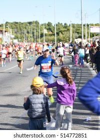ATHENS,GREECE - NOV 13-2016: 34nd Athens Classic Marathon.Over 50,000 athletes from dozens of countries took part in the classic authentic marathon ,November 13, 2016 in Marathon City, Athens,Greece