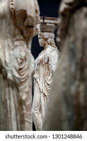 ATHENS/GREECE - November 3, 2018: Caryatids at the Acropolis Museum, in Athens, Greece.