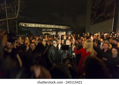 ATHENS,GREECE-JAN 18 :A symbolic protest of mayors and citizens in the light of the candles,for the return of the Parthenon Marbles from the British Museum in London,January 18, 2015 in Athens,Greece
