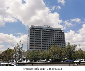 Athens,Greece-July 19,2019.Image shows the building of Hygeia hospital at Maroussi Athens.