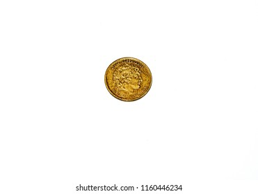 Athens,Greece-July 20,2018.Image shows a portrait of Alexander the Great at a 100 drachmas brass coin on white background.