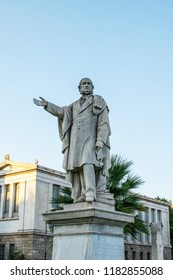 Athens,Greece-July 20,2018.Image shows the Statue of British Prime Minister William Ewart Gladstone outside the  National and Kapodistrian University of Athens.