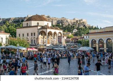 Athens,Greece-July 20,2018.View of the Monastiraki square full of people.