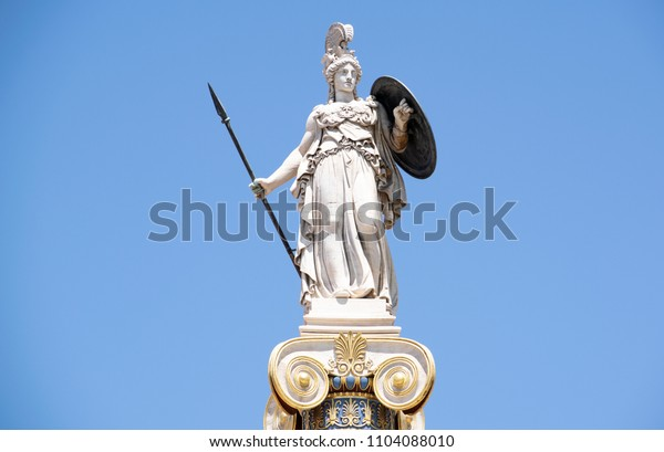 Athens,Greece-May 28,2018.Image shows the statue of the ancient Greek goddess Athena.