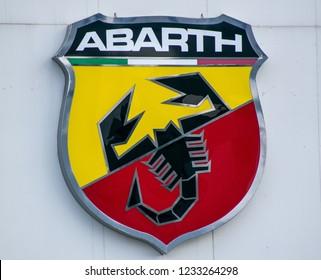 Athens,Greece-November 09,2018. Abarth car company's sign close up.