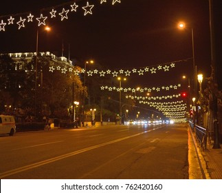 Athens,Greece-November 25,2017.A look at the Christmas decoration of the streets of Athens.