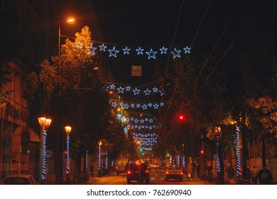 Athens,Greece-November 25,2017.Streets of the city are decorated in Christmas mode.
