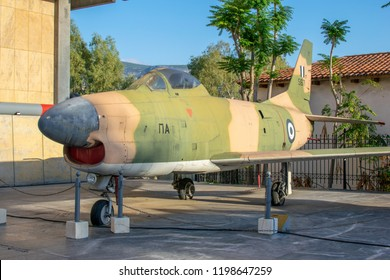 Athens,Greece-October 06,2018.Image shows a North American F-86D Sabre aircraft placed at the yard of War Museum of Athens.