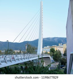 Athens,Greece-October 6,2018.The pedestrian bridge placed at the Mesogeion street made by the famous Spanish architect Santiago Calatrava.