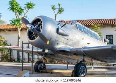 Athens,Greece-October 7,2018.A North American T-6 Texan trainer aircraft placed at the War Museum of Athens.