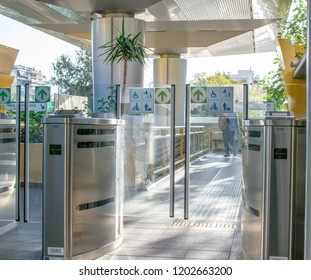 Athens,Greece-October 7,2018.Image shows a subway gate  of the electric railway of Athens.