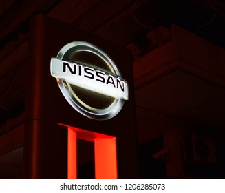 Athens,Greece-October 7,2018.Nissan auto company logo on an advertising sign.