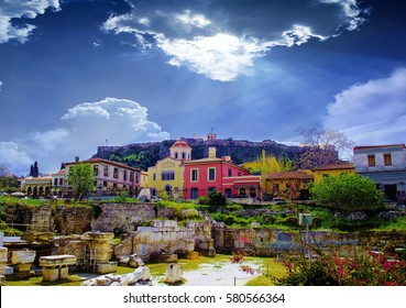 Athens,Greece.Plaka area..Remains of the Hadrian's Library in Monastiraki square in Athens,Greece
