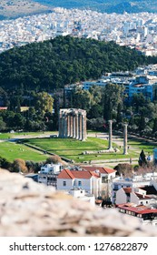 Athens,Temple of Zeus,Greece-January 06 2019:Temple of Olympian Zeus,view from Acropolis.