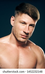 athlete with a bare-chested sport portrait