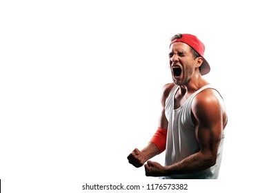 Athlete in a baseball cap celebrates victory
