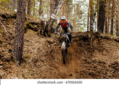 athlete bike enduro in forest trail downhill competition motocross