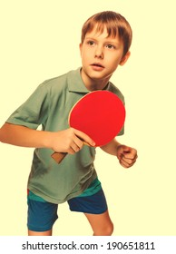 athlete boy child teenager with racket plays table tennis ping pong isolated on white background cross processing retro