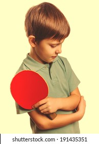 athlete boy upset lost setback table tennis ping pong isolated on white background large cross processing retro