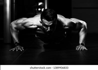 Athlete Doing Push-Up As Part Of Bodybuilding Training