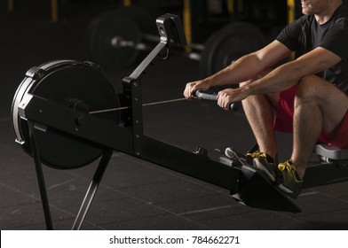 Athlete doing rowing exercises