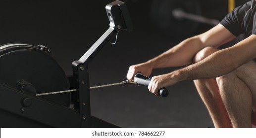 Athlete doing rowing exercises