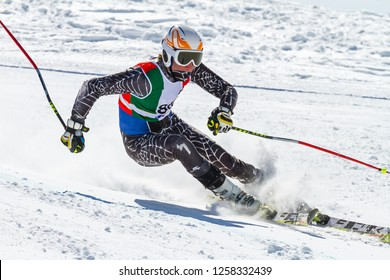 athlete engaged in the race of super g