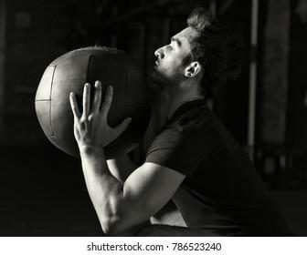 Athlete exercising wallball shots