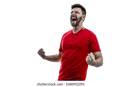 3add065953 Athlete   fan on red uniform celebrating on white background