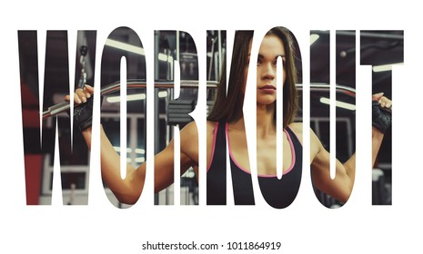 Athlete girl in sportswear working out and training her arms and shoulders with exercise machine in gym. Motivation sign