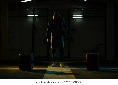 Athlete in the Gym Is Prepared to Perform an Exercise Deadlift