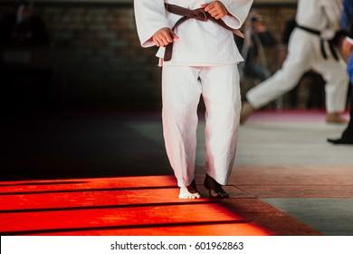athlete judoka in white kimono and brown belt on tatami