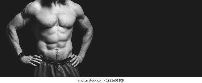 athlete man on black background
