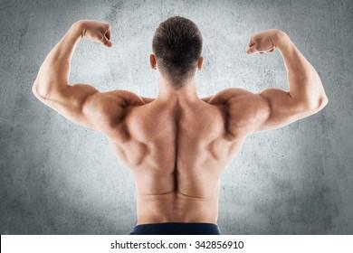 Athlete muscular bodybuilder back