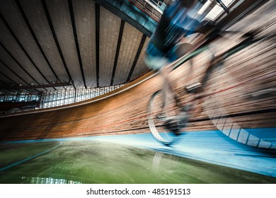 Athlete on cycle indoors