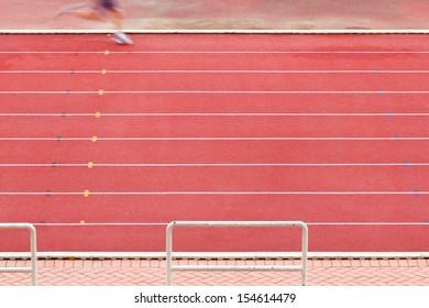 Athlete on running way