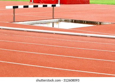 Athlete on track in the stadium, trough race