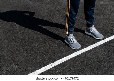 Athlete on the track at the start of the sports - Shutterstock ID 470179472