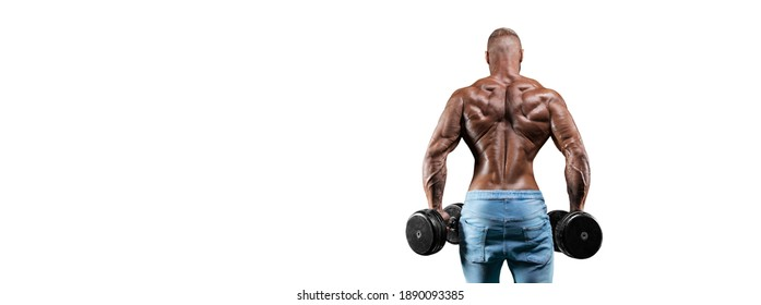 The athlete performs an exercise with dumbbells on a white background. Back view. Shrugs. Fitness, bodybuilding, powerlifting concept. Mixed media