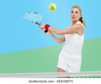 Athlete playing tennis with a racket against digitally generated image of tracks